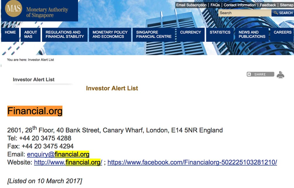 Singapore Alert List - Scam-Financial org